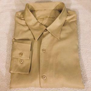 Tommy Bahama Solid Tan Hawaiian Silk Shirt XXL